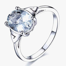 Load image into Gallery viewer, Addy Oval Aquamarine & 14K White Gold Ring, Aquamarine, Aquamarine Birthstone, Aquamarine Birthstone Ring, Aquamarine and white gold Ring, Birthstone Ring, March Birthstone Ring, Buy aquamarine birthstone, buy aquamarine, 100sterling.com