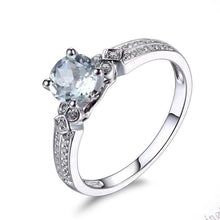 Load image into Gallery viewer, Alamara Flawless .6 Carat Genuine Aquamarine & Diamond Ring set in Solid 10K White Gold, Aquamarine and Diamond RIng, Aquamarine RIng, Aquamarine Jewelry, March Birthstone Jewelry, March Birthstone Ring, Aquamarine Birthstone Ring, 100Sterling.com