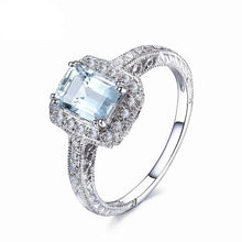 Load image into Gallery viewer, Adelyn 1.23 Carat Emerald Cut Aquamarine & Round Diamond 14K White Gold Ring, Aquamarine Birthstone Ring, Aquamarine, Aquamarine birthstone, March Birthstone, Emerald cut aquamarine, buy aquamarine, buy aquamarine birthstone, Aquamarine and 14K white gold, 100Sterling.com