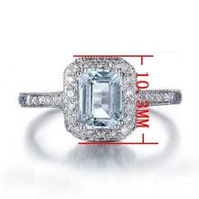 Load image into Gallery viewer, Adelyn's 1.23 Carat Emerald Cut Aquamarine & Round Diamond 14K White Gold Ring