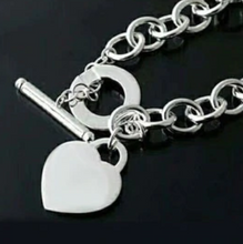 Load image into Gallery viewer, Sterling Silver Classic Dangling Heart Chain Link Bracelet