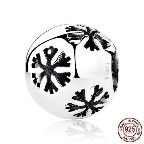 Sterling Silver Round Snowflake Bead Charm