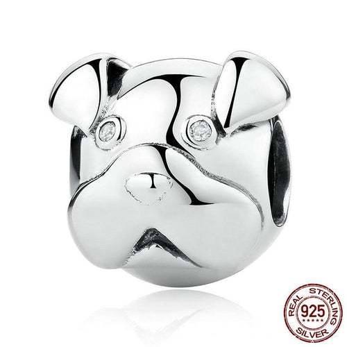 Sterling Silver Clear Eyed Sharpei Bead Charm