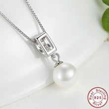 Load image into Gallery viewer, Sterling Silver Drop pearl & Cubic Zirconia Necklace, Wedding Necklace, Special Occasion Necklace, Sterling Silver Necklace, Bridal Necklace, Pearl Drop Necklace, Sterling Silver Pearl Drop Necklace, 100Sterling.com