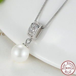 Sterling Silver Drop pearl & Cubic Zirconia Necklace, Wedding Necklace, Special Occasion Necklace, Sterling Silver Necklace, Bridal Necklace, Pearl Drop Necklace, Sterling Silver Pearl Drop Necklace, 100Sterling.com
