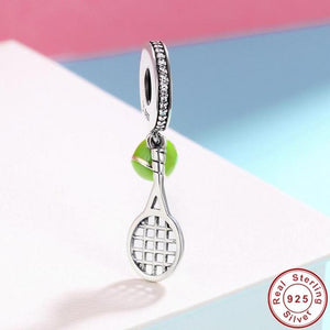 Sterling Silver & CZ Dangling Tennis Ball & Racket Charm
