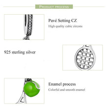 Load image into Gallery viewer, Sterling Silver & CZ Dangling Tennis Ball & Racket Charm
