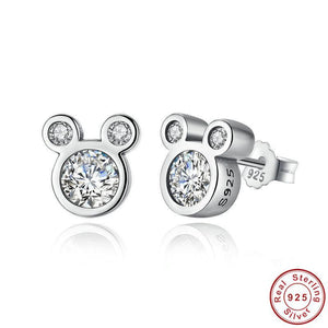 Sterling Silver & CZ Silhouette Mouse Earrings
