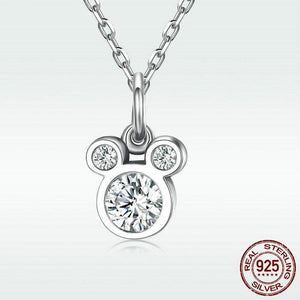 Sterling Silver & CZ Silhouette Mouse Pendant Necklace