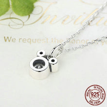 Load image into Gallery viewer, Sterling Silver & CZ Silhouette Mouse Pendant Necklace