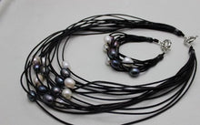 Load image into Gallery viewer, Multi-color Freshwater Circle Pearl Necklace & Bracelet Set
