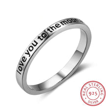 "Load image into Gallery viewer, ""I Love You To The Moon And Back"" Sterling Silver Ring"