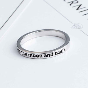 """I Love You To The Moon And Back"" Sterling Silver Ring"