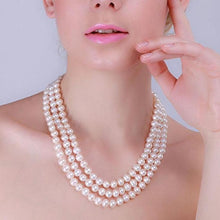 Load image into Gallery viewer, Triple Row 6-7mm Freshwater Necklace, Freshwater pearl necklace, Freshwater pearls, White pearl necklace, nature pearl necklace, 100sterling.com