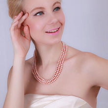 Load image into Gallery viewer, Triple Row 6-7mm Freshwater Necklace, Freshwater pearl necklace, Freshwater pearls, Pink pearl necklace, nature pearl necklace, 100sterling.com