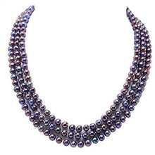 Load image into Gallery viewer, 6-7mm Triple-strand Dark Blue Freshwater Pearl Necklace, Classic 6-7mm Triple-row Pearl Necklace, three 3 row necklace, Large Pearl Necklace, Freshwater Pearl Necklace, Wedding Jewelry, Bridal Jewelry, Bridal Pearls, Wedding Pearls, Pearl Necklace, 6mm Pearl Necklace, 7mm Pearl Necklace, Freshwater Pearls, 100Sterling.com, Freshwater Pearl Necklace, Classic Pearl Necklace, 100Sterling.com, Wedding Jewelry, Anniversary pearls, Evening Pearls, Daytime Pearls