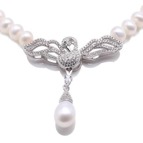 7mm - 7.5mm Freshwater Pearl Necklace with Sparkling Swan Pendent. Bride and bridesmaid accessories, everyday pearls, anniversary pearls, birthday pearls, special occasion gift, Pearl holiday gift. 18 inch Pearl Necklace, 100sterling.com, Bridal Pearls