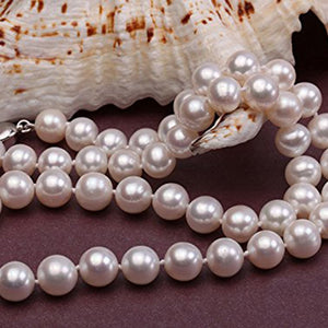 White Pearl Necklace, Earring and Bracelet Set, Wedding Jewelry, Bridal jewelry, Bridal Necklace, Pearl Necklace, Pearl Earrings, Pearl Bracelet, 100Sterling.com, Sterling Silver and pearls, Silver pearls, Pearl Jewelry, Pearls