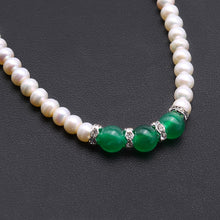 Load image into Gallery viewer, 4.5mm Flat Round White Freshwater Pearl necklace with three Malay Jade Dyed Quartzite beads, Jade and pearl necklace, Lobster Claw Clasp necklace, 16.5 inch freshwater pearl necklace, pearl necklace, freshwater pearl necklace, 100sterling.com, pearl gifts, classic pearl necklace