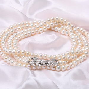 7-7.5mm Double Row Freshwater Pearl Necklace