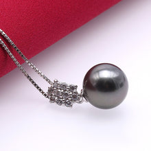 Load image into Gallery viewer, 9.5mm Black Tahitian Pearl Pendant Sterling Silver Necklace, wedding, Wedding Dresses, Wedding Gowns, Wedding Accessories, Wedding Jewelry, Pearl jewelry, Bridal jewelry, weddings, what to wear to a wedding, wedding ideas, Tahitian Pearls, Pearl Necklace, Bride, Wedding Party Gifts, Wedding Gifts, 100sterling.com