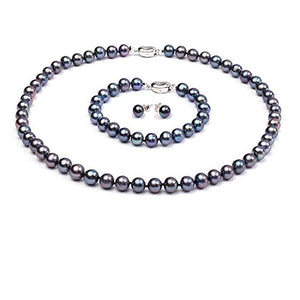 Black Natural Freshwater Pearl Necklace, Bracelet & Earring Set