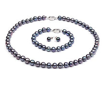 Load image into Gallery viewer, Black Natural Freshwater Pearl Necklace, Bracelet & Earring Set