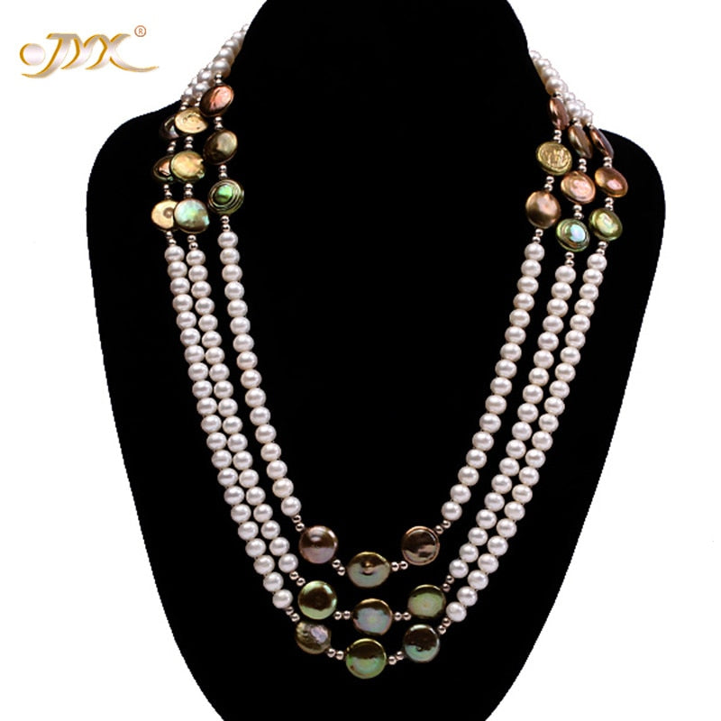 Limited Edition 3-Strand Designer Freshwater & Barogue Pearl Necklace