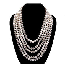 Load image into Gallery viewer, Classic 6 - 7mm Round Five-row Pearl Necklace, Large Pearl Necklace, Freshwater Pearl Necklace, Wedding Jewelry, Bridal Jewelry, Bridal Pearls, Wedding Pearls, Pearl Necklace, 6mm Pearl Necklace, 7mm Pearl Necklace, Freshwater Pearls, Freshwater Pearl Necklace, Classic Pearl Necklace, 100Sterling.com, Wedding Jewelry, Anniversary pearls, Evening Pearls, Daytime Pearls, 5 strand pearl necklace