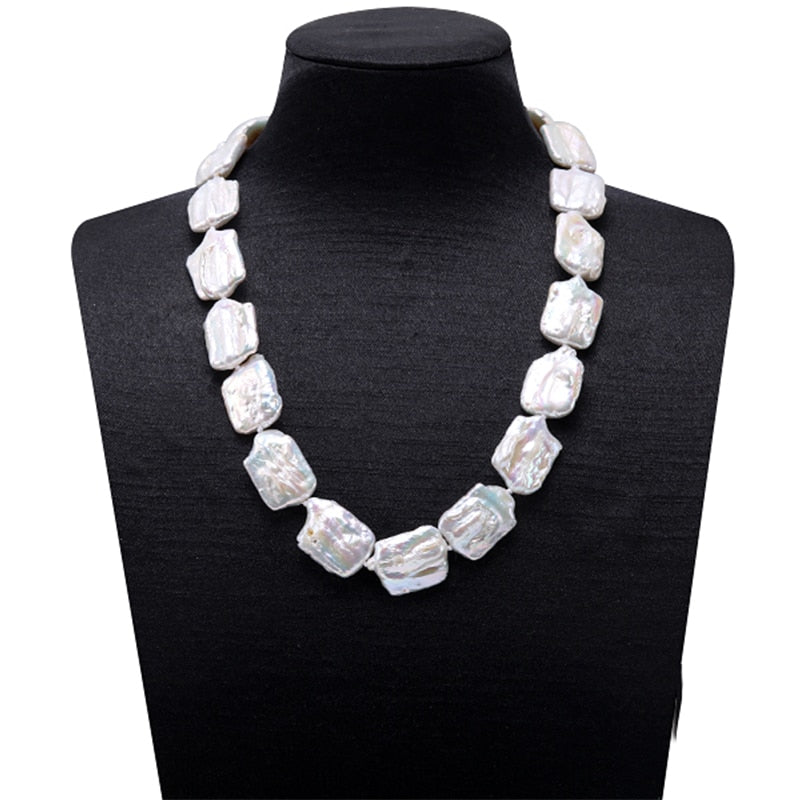 Unique Shaped White Baroque Freshwater Pearl Necklace 100sterling