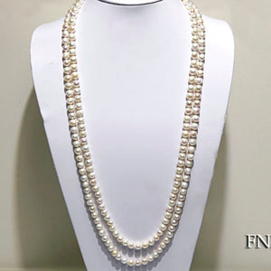 32 Inch Double Row Round Freshwater Pearl Necklace, Freshwater Pearl Necklace, Classic Pearl Necklace, Long Pearl Necklace, 32 inch necklace, double wrap pearl necklace, 4 row pearl necklace, 100Sterling.com, Stunning Pearls, Pearls, Anniversary Gift, Women's Pearl Necklace, Birthday Gift Ideas, Gift Ideas, Freshwater Pearls, Bridal Jewelry, Bridesmaid Jewelry Free Shipping Jewelry, Fashion Pearl Jewelry