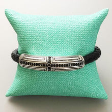 Load image into Gallery viewer, Sterling Silver & Leather Braid Onofrio Street Bracelet
