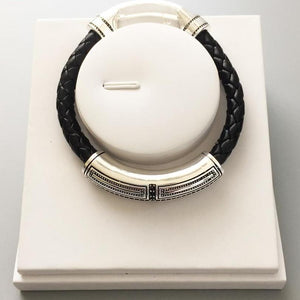 Sterling Silver & Leather Braid Onofrio Street Bracelet