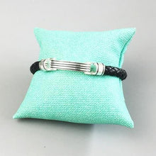 Load image into Gallery viewer, Sterling Silver & Leather Braid Onofrio Band Street Bracelet