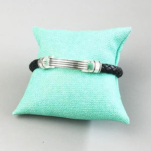 Sterling Silver & Leather Braid Onofrio Band Street Bracelet