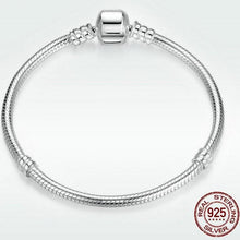 Load image into Gallery viewer, Sterling Silver Barrel Clasp Snake Chain Bracelet