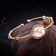 Load image into Gallery viewer, Baroque Pearl Bangle Bracelet, 925 Sterling Silver 14K Gold Plated Bracelet, Baroque Pearl Bracelet, Fashion Bracelet, Pearl Bracelet, Designer Bracelet, 100Sterling.com