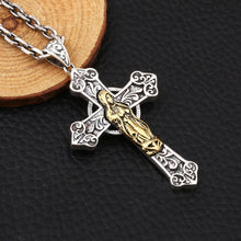 Load image into Gallery viewer, Sterling Silver Virgin Mary Cross Pendant Necklace, Sterling Silver Cross necklace, Cross Necklace, Men's Cross, Men's Cross Necklace, Women's Cross, Women's Cross Necklace, Religious Jewelry, 100Sterling.com