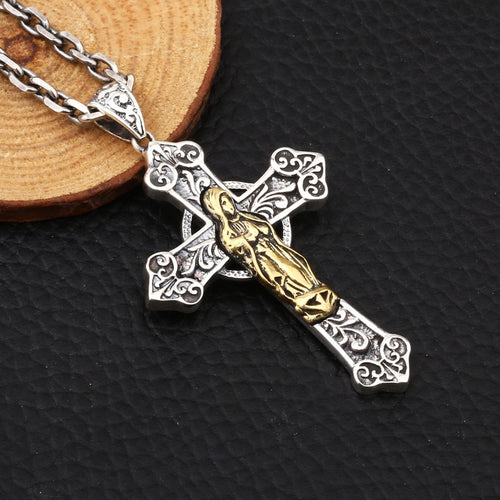 Sterling Silver Virgin Mary Cross Pendant Necklace, Sterling Silver Cross necklace, Cross Necklace, Men's Cross, Men's Cross Necklace, Women's Cross, Women's Cross Necklace, Religious Jewelry, 100Sterling.com
