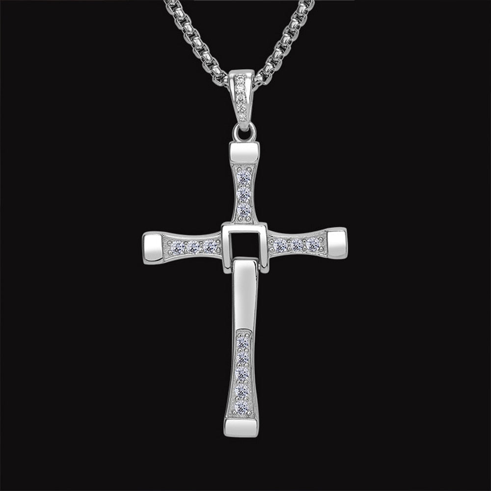 Sterling Silver & White Zircon Cross Pendent with Box Chain Necklace