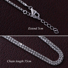 Load image into Gallery viewer, Sterling Silver & White Zircon Cross Pendent with Box Chain Necklace