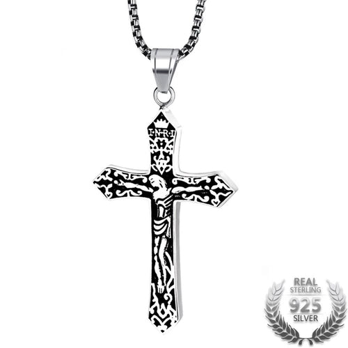 Sterling Silver Cross Pendant with Black Leather Rope Necklace