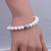 Load image into Gallery viewer, 9-9.5mm Freshwater Pearl & Solid 925 Sterling Silver Bead Bracelet, ELASTIC Pearl Bracelet, Freshwater Pearl Bracelet, Wedding Jewelry, Bridal Jewelry, Bridal Pearls, Wedding Pearls, Pearl Bracelet, 9.5mm Pearl Bracelet, 9mm Pearl Bracelet, Freshwater Pearl Bracelet, Large Pearls, Freshwater pearls, Classic Pearl Bracelet, 100Sterling.com, Wedding Jewelry, Anniversary pearls, Evening Pearls, Daytime Pearls, Fashion Pearls, White Pearls, White Pearl Bracelet, Sterling Silver Bead Pearls