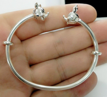 Load image into Gallery viewer, Sterling Silver Disney Character Open Bangle, Mickey Mouse Bracelet, Minnie Mouse Bracelet, Mickey and Minnie Bracelet, Disney Character jewelry, Sterling Silver Disney Jewelry, Pandora Disney Jewelry, Pandora, Pandora Bracelet, 100Sterling.com, Fashion Bracelet