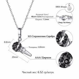 "Sterling Silver 18"" Necklace with Cubic Zirconia Microphone Pendent"