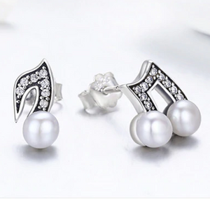 Sterling Silver & Fresh Water Pearl Musical Note Earrings, Sterling Silver Earrings, Sterling Silver Pearl Earrings, Music Earrings, Music Jewelry, 100Sterling.com, Musical Note Earrings, Orchestra Jewelry, Band Jewelry, Orchestra Accessories, Band Accessories