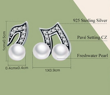 Load image into Gallery viewer, Sterling Silver & Fresh Water Pearl Musical Note Earrings, Sterling Silver Earrings, Sterling Silver Pearl Earrings, Music Earrings, Music Jewelry, 100Sterling.com, Musical Note Earrings, Orchestra Jewelry, Band Jewelry, Orchestra Accessories, Band Accessories