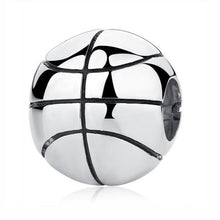 Load image into Gallery viewer, Sterling Silver Shiny Round Basketball Charm Bead
