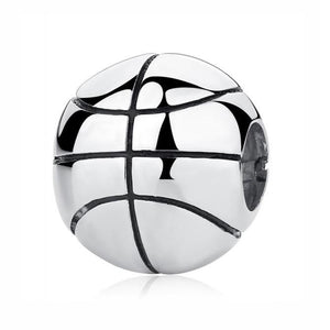 Sterling Silver Shiny Round Basketball Charm Bead