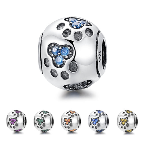 Sterling Silver & CZ Paw Print Bead Charm in 7 Colors